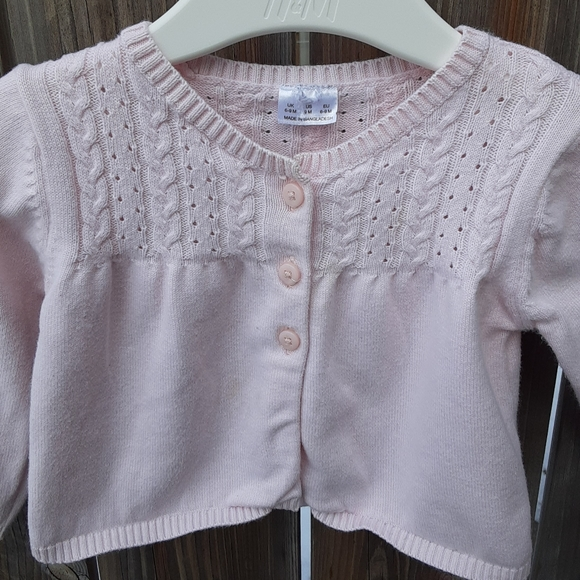 5/$20 Pink Cardigan With Eyelet Front
